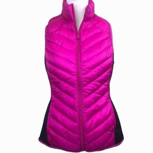 Be Inspired Pink Black Down Packable Vest